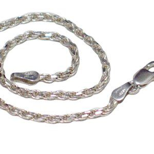 "Rope Chain Bracelet Sterling Silver 8"" Jewelry"